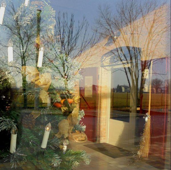 La luce del sole sulla vetrata d'ingresso confonde l'esterno con l'interno..... Bello!
